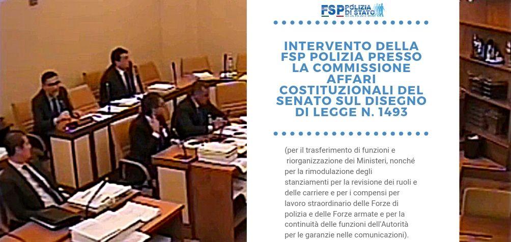 Intervento della FSP Polizia presso la Commissione affari costituzionali del Senato sul disegno di legge n. 1493